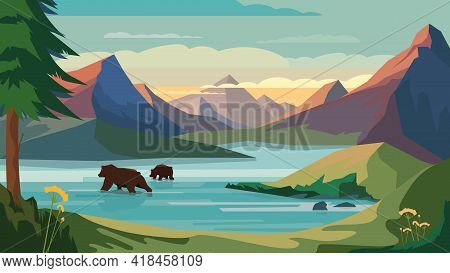Mountains View, Banner In Flat Cartoon Design. Rock Peaks, Mountains Lake, Bears Swimming In Water,