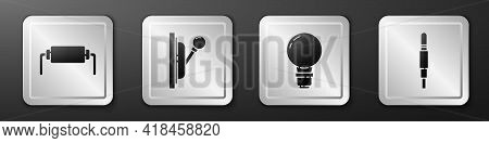 Set Resistor Electricity, Electrical Panel, Light Bulb With Concept Of Idea And Audio Jack Icon. Sil