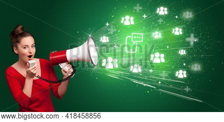 Young person with megaphone and social networking icon
