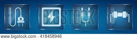 Set Electric Plug, Lightning Bolt, Audio Jack And Resistor Electricity. Square Glass Panels. Vector