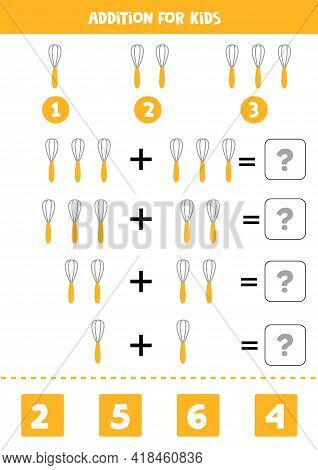 Addition With Kitchen Whisk. Educational Math Game For Kids.