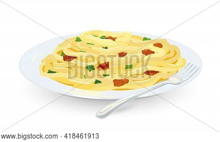 Cartoon Of Famous Type Of Macaroni With Bacon, Greenery And Cheese, Restaurant Dinner. Vector Tradit