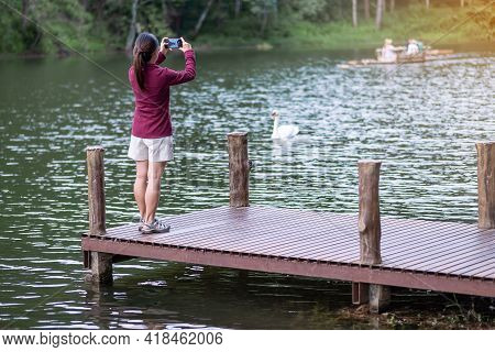 Happy Traveler Woman Taking Photo Nature View By Smartphone , Solo Tourist In Sweater Traveling At P