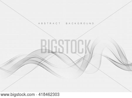 Abstract Background With Smooth Swoosh Line Gray Lane.