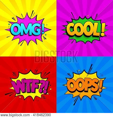 Set Of Comic Expressions Omg, Cool, Oops, Wtf On Colored Backgrounds. Pop Art Style. Vector Illustra