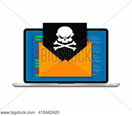 Vector Illustration Concept Of Virus And Hacking. Envelope With Skull On Screen Laptop Isolated On W