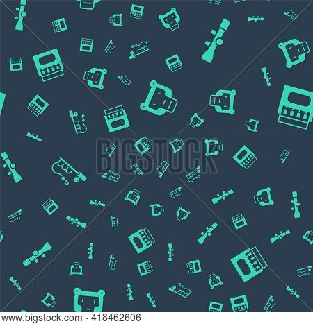 Set Monkey, Sniper Optical Sight, Fishing Rod And Matchbox And Matches On Seamless Pattern. Vector