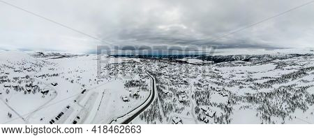 Panorama Over Beitostølen Village And Ski Resort On A Cloudy Winters Day.
