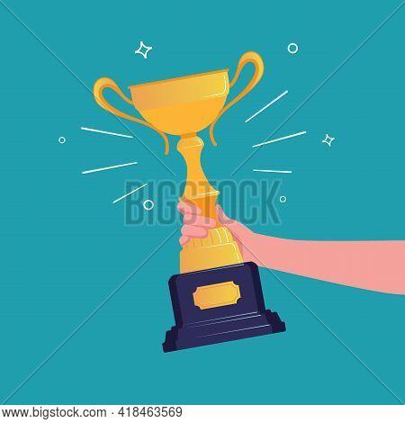 Goblet Or Cup Concept. Golden Award Winning Prize. Vector