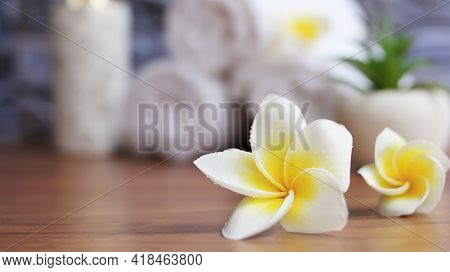 Close Up Of Plumeria Spa Accessories,beautiful Composition Of Spa ,spa Relax Concept,beautiful Sap S