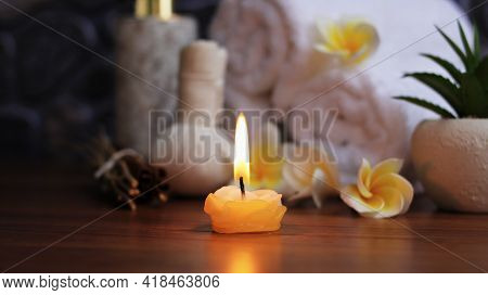 Candle Light Of Spa Accessories,beautiful Composition Of Spa , Spa Relax Concept,  Herbs For Massage