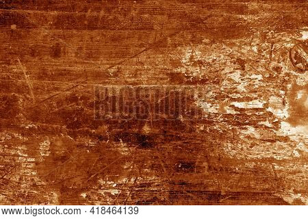 Old Rusted And Stained Floor Pattern In Orange Tone. Background And Texture.