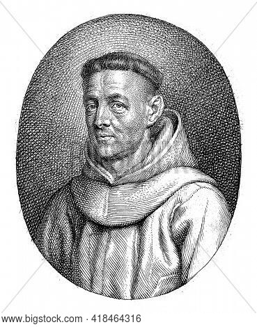 Portrait bust in oval to the left of Friar Minor Benedictus Sardegna, dressed in a robe. Below the oval is a two-line text in Latin.