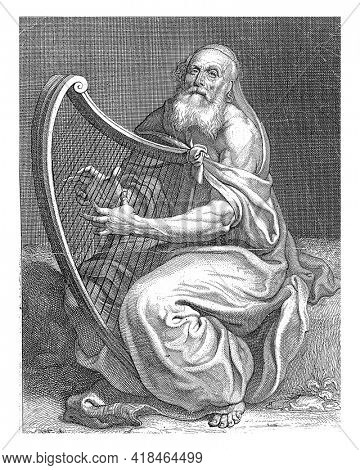 David plays the harp. At the bottom center, in the margin, the coat of arms of Louis Petit and a dedication to him in French.