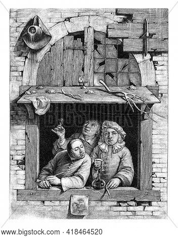 Three men drinking and smoking are standing behind an open window. On the roof above the window are stones and branches or pieces of antlers. A hat and picture hang on the outside of the window.