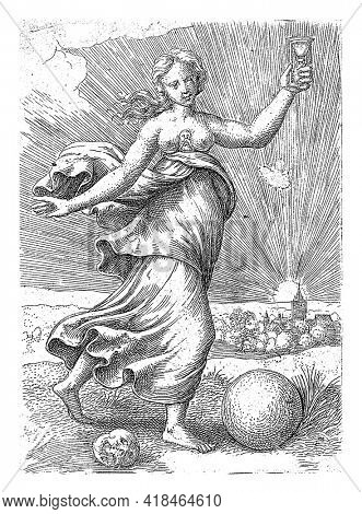 The personification of the virtue Temperance walks in a landscape with an hourglass in her hand. A globe and a skull lie at her feet. In the background a city and the setting sun.