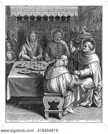 Print from a series of 30 prints depicting the life story of Thomas Aquinas. The prints, designed and published by Otto van Veen