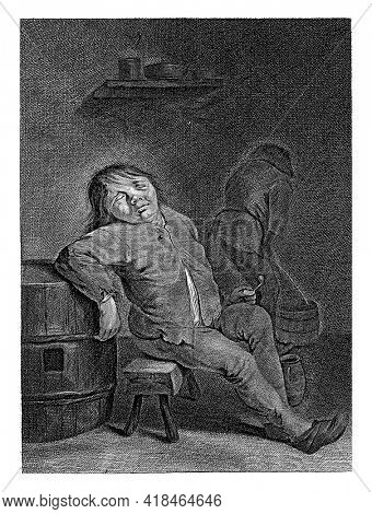 Tavern Interior with peasant sleeping on a stool, leaning against a ton. A pipe in his left hand. On the right a farmer, seen from behind, peeing in a bucket.