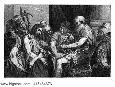Pilate pours water from a pitcher into a bowl held by a servant. Christ stands before him with his head bowed and arms crossed. With bystanders including a soldier with halberd.