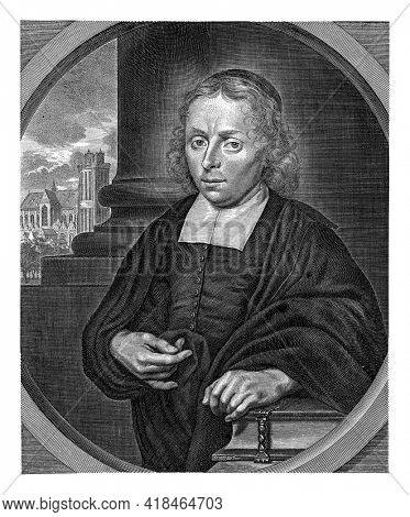 Half-length portrait to the left of the pastor Jacobus van Oldenburg, with behind him a view along a column of the Grote Kerk in Dordrecht. His left hand rests on a Bible.