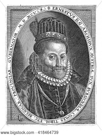 Portrait of Ernst Archduke of Austria and Governor of the Southern Netherlands, in oval with edge lettering.
