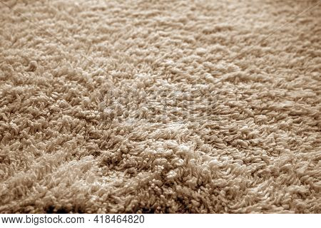 Bath Towel Texture With Blur Effect In Brown Color. Abstract Background And Texture For Design.