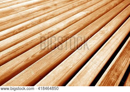Wooden Planks Texture In Orange Tone. Abstract Background And Texture For Design.