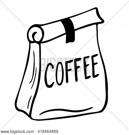 Paper Bag Full Of Coffee, Linear Illustration Of Craft Coffee Packaging. Coffee Paper Bag, Sack Line