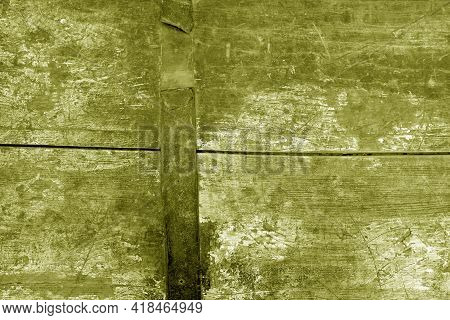 Old Rusted And Stained Floor Pattern In Yellow Tone. Background And Texture.