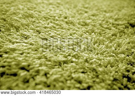Bath Towel Texture With Blur Effect In Yellow Color. Abstract Background And Texture For Design.