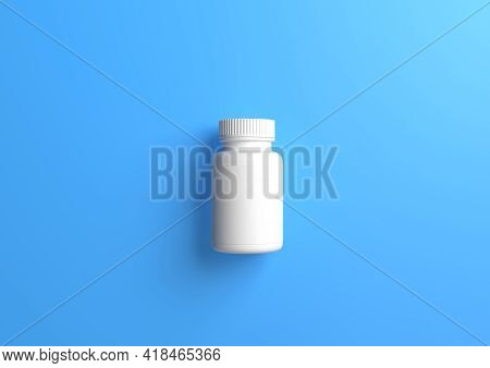 White Pills Bottle On Blue Background With Copy Space. Medicine Concepts. Minimalistic Abstract Conc
