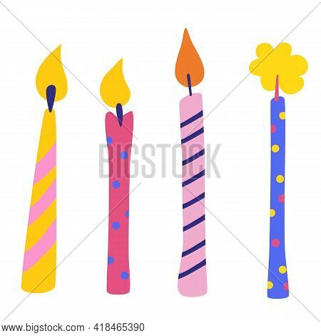 Birthday Candles Vector Set. Accessory For Festive Feast. Multicolor Burning Candles With Lines And