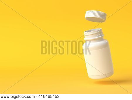 Flying Pills Bottle On Yellow Background With Copy Space. Medicine Concepts. Minimalistic Abstract C