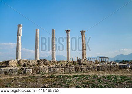 Corinthian Columns On Street Of Abandoned City Laodicea, Denizli, Turkey. Right Column Made Of Marbl