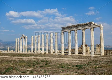 Street Colonnade With Remains Of Pylons In Laodicea, Ancient City Near Denizli, Turkey. It Was Part