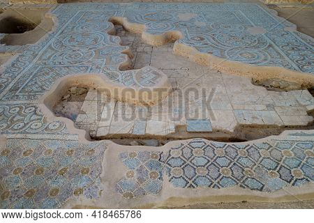 Remains Of Floor Mosaics In Ruined Church. Lower Layer Made Of Simple Tiles. Higher One Is Decorated