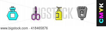 Set Perfume, Scissors, Cream Lotion Cosmetic Tube And Epilator Icon. Vector