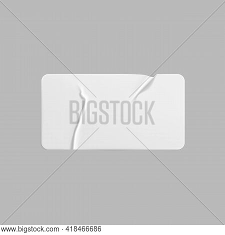White Glued Crumpled Rectangle Sticker Mock Up. Blank White Adhesive Paper Or Plastic Sticker Label