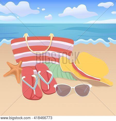 Beach Accessories, Flat Illustration, Element Summer Vacation Design. Beach Bag, Brimmed Hat, Flip F