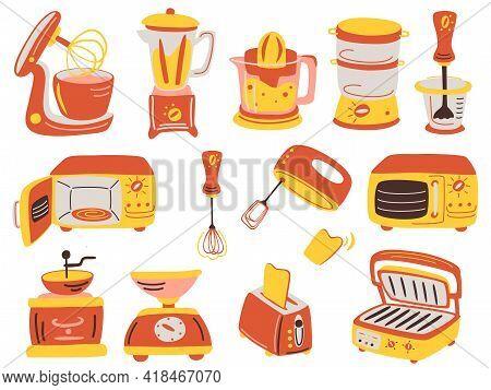 Cartoon Kitchen Appliances Set. Juicer, Grill, Blender, Electronic Scale, Coffee Grinder, Toaster, B