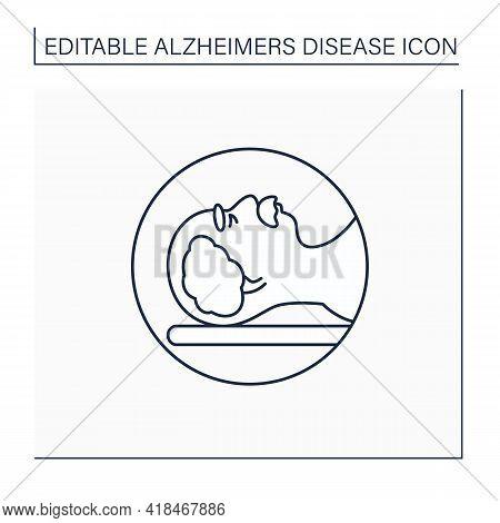 Mri Line Icon. Brain Scan. Magnetic Resonance Imaging.safe, Painless Test.examination Brain Status.