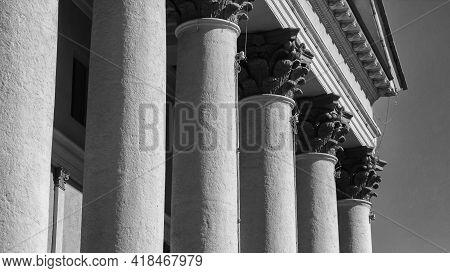 Doric Column. Antique Style Palace. Ust-kamenogorsk (kz). 2021.