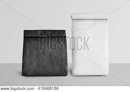 Black and white kraft paper bags
