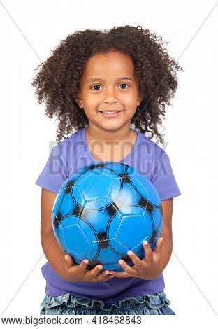 Adorable african little girl with soccer ball isolated over white