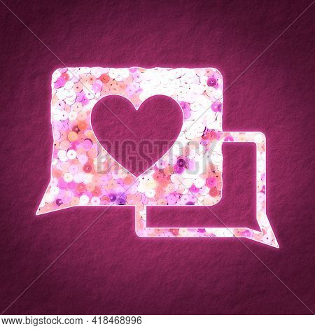 Pink sequin love message virtual dating illustration