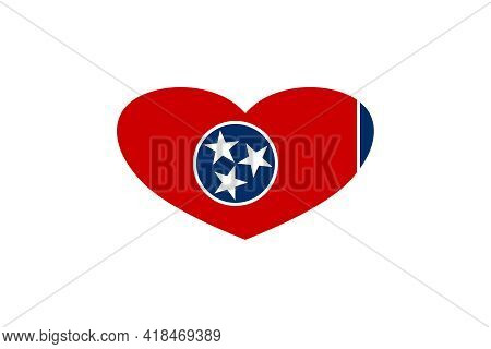 Tennessee (usa State) Flag Heart Shape Isolated On Background.