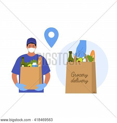 Delivery Man. Fast And Safe Food Delivery. Take Away Food. Vector