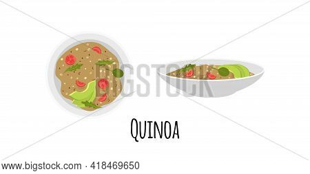 Quinoa Bowl. Top View. Flat Style. Isolated. Vector