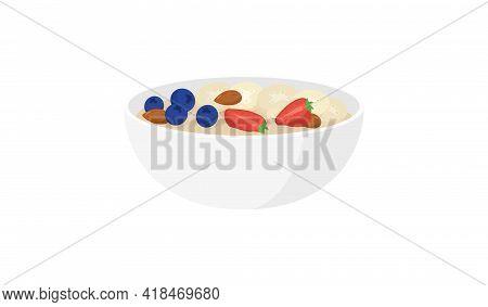 Oatmeal Bowl. Isolated On White. Flat Style. Oatmeal Porridge. Vector