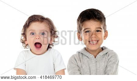 Funny astonished children isolated on a white background